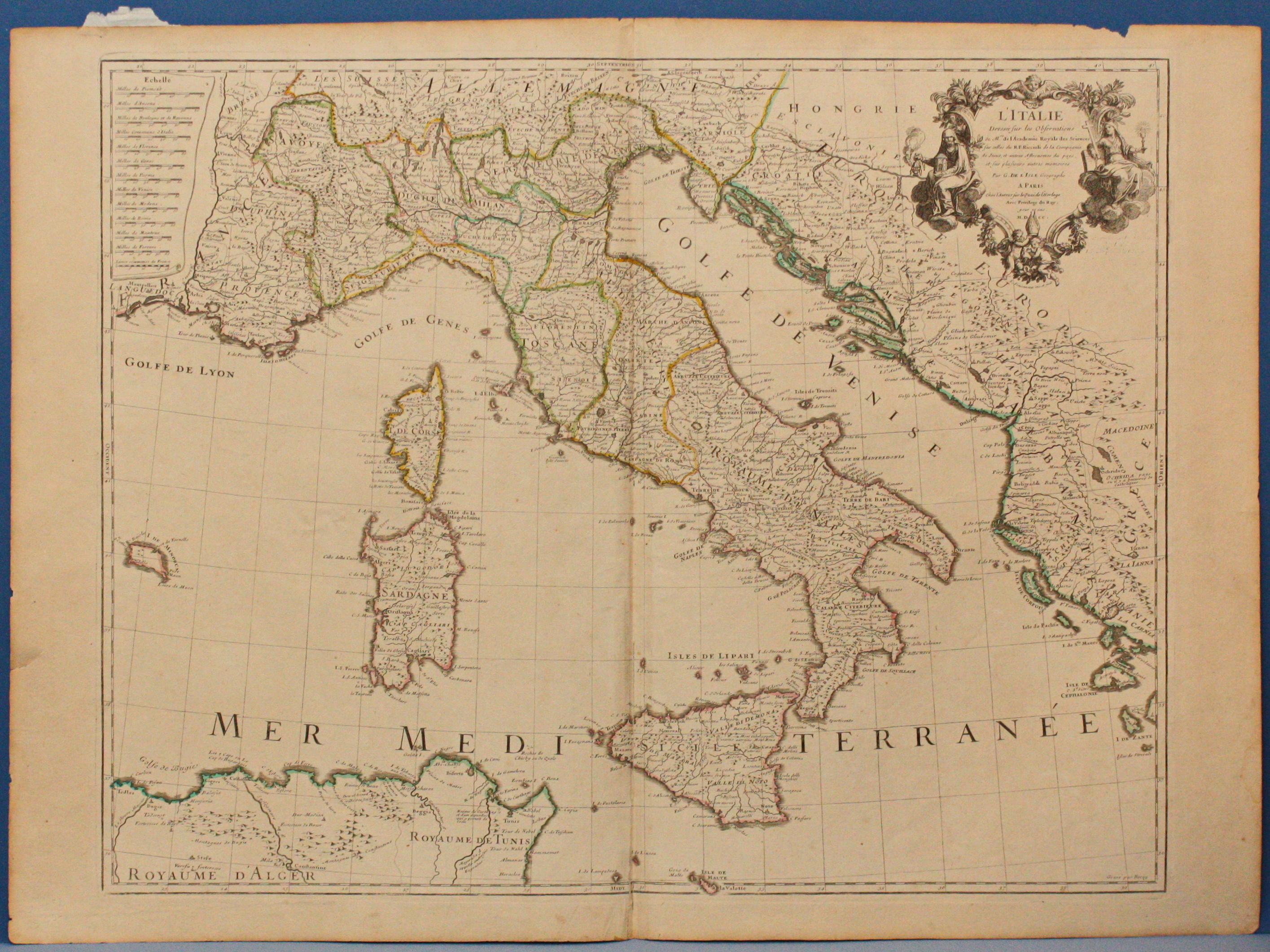 Italia Cartina Antica.Antica Carta Geografica Italia 1700 Italie Riccioli Old Map Ebay